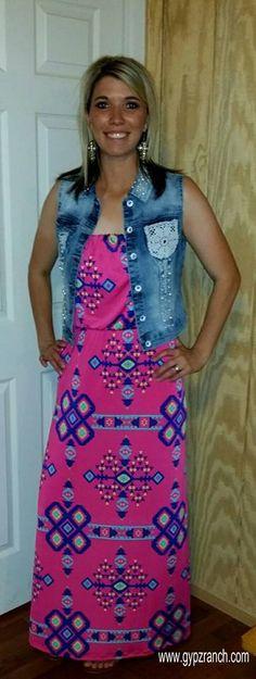 Jump Into Tribal Hot Pink Dress $40 www.gypzranch.com