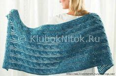 Палантин цвета морской волны | Вязание для женщин | Вязание спицами и крючком. Схемы вязания.