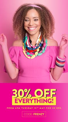 Starts 6pm tonight* 30% off everything for 30 hours! Enter code = FRENZY Looking for statement, bold and colourful jewellery? Now is the time to get shopping. Fabulous fun jewellery all at 30% off...but only for 30 hours! *Australian Eastern Standard Time. Ends Midnight Wednesday 16th May. #jewellery #jewelry #statement #color #colorful #colour #jewels #bold #sale Cute Bracelets, Statement Jewelry, Wednesday, Colorful, Jewels, Jewellery, Collections, Fun, Shopping