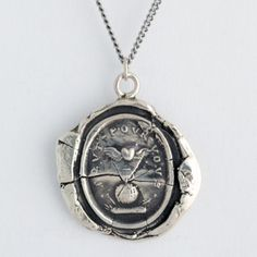 I really think I need this.   Winged Heart Wax Seal Necklace