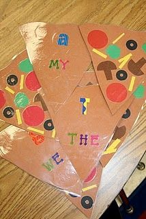 Pass the pizza game with sight words on the back