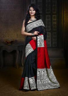 Saree - Madhubani Printed Work On Pallu, Pleats & Border On Black Chanderi & Red Slub Silk