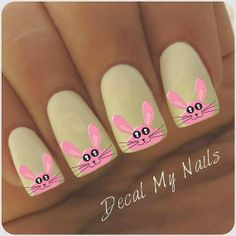 Easter Bunny Nail Art Decals 40 Decals by DecalMyNails on Etsy, $4.25