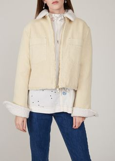 London College Of Fashion, Shirt Embroidery, Shearling Jacket, White Denim, Casual Looks, Bae, Jackets, Clothes, Collection
