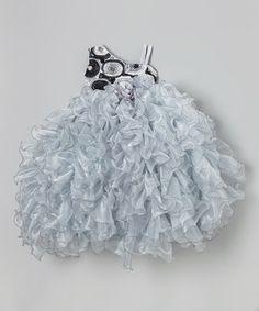 Another great find on #zulily! Silver Rosette Asymmetrical Ruffle Dress - Girls by Bijan Kids #zulilyfinds