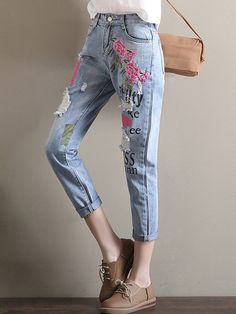 1dc7f27ffb3 Middle East Floral Embroidered Letters Printed Casual Loose Harem Denim is  a trendy, Newchic provides wide range of best cheap Denim & Jeans for you.