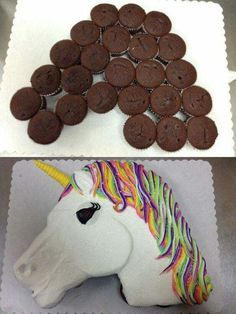 UNICORN CUPCAKE CAKE....this is so adorable & easy to make! Love it! Featured on our BEST Pull-Apart Cake Ideas!  http://kitchenfunwithmy3sons.com/2016/04/best-cupcake-cake-ideas.html/