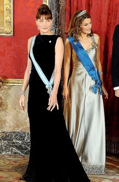 Ms Bruni with Spain's Princess Letizia at a gala dinner at the Royal Palace in Madrid last night