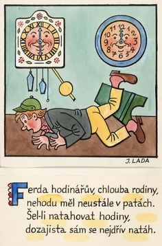 Kalamajka – Ferda hodinářův, chlouba rodiny, 1913 Folklore, Illustrators, The Past, Language, Graphics, Comics, Retro, Books, Painting