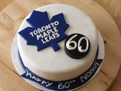 Toronto Maple Leafs Customer requested a leafs theme cake for a big fan turning this is what I came up with. Was planning a. Hockey Birthday Cake, 60th Birthday Cakes, Hockey Party, Hockey Puck, 40th Birthday, Birthday Ideas, Birthday Parties, Cake Toronto, Birthday