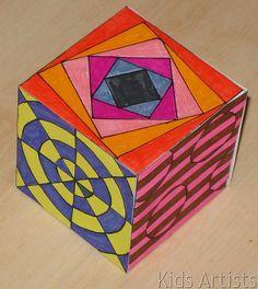 Kids Artists: Op art cube - perhaps enlarge to giant display cubes? Zentangle, Cube Template, Op Art Lessons, Opt Art, Art Cube, 7th Grade Art, Art Periods, Drawing Sheet, Artists For Kids