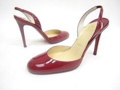 NIB CHRISTIAN LOUBOUTIN Red Patent Leather Rounded Toe Slingbacks Pumps Sz 36 6  at www.ShopLindasStuff.com