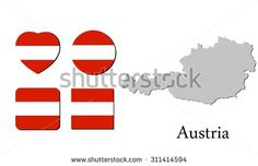 flag and map of austria, vector illustration, graphic design, flag austria, map austria - stock vector