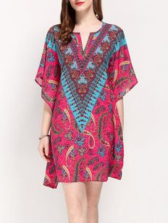 Shop Mini Dresses - Fuchsia Asymmetrical Jacquard Printed Boho Holiday Dress online. Discover unique designers fashion at StyleWe.com.