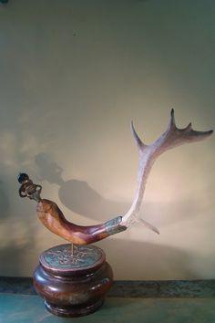 Vis hout gewei koper brons zilver glas klein