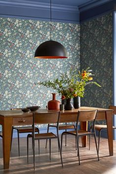 Our exclusive colourway of Morris Golden Lily wallpaper. William Morris Wallpaper, Morris Wallpapers, Dining Room Blue, Dining Room Design, Kitchen Wallpaper Inspiration, Wallpaper Ideas, Living Room Inspiration, Arts And Crafts House, Arts And Crafts Interiors