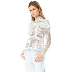 Glamorous Lace Blouse featuring polyvore, women's fashion, clothing, tops, blouses, dusty mint, white lace blouse, ruffle blouse, crochet lace top, white crochet top and transparent blouse