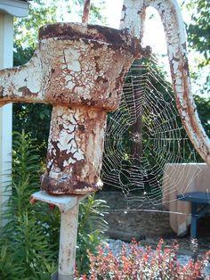 Spiderweb on an old pump