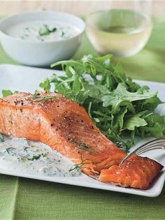 Hot Smoked Salmon w/Fresh Dill Sauce - Barefoot Contessa