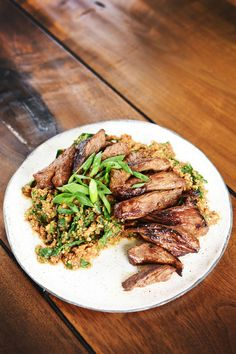 """Marinated Flank Steak with Cauliflower """"Rice"""" and Mustard Greens   37 Whole30 Recipes That Everyone Will Love"""