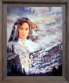 Native American Indian Princess and Mountain Lion Fine Wall Barnwood Framed Picture Art Print (19x23)