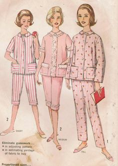 Simplicity 4006: Use this 1960s vintage sewing pattern for misses to sew pajamas in cute cabin-boy length or full length. These pert pajamas have the slim look of the 60s, and are proportioned for short, medium, and tall heights. The pajama top has patch pockets, jewel neckline,