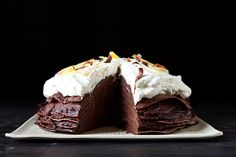 Spicy Chocolate Mousse Crepe Cake by meganvt01, food52 #Chocolate_Mousse_Crepe_Cake #meganvt01 #food52