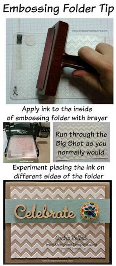 Another Use For Embossing Folders 2019 How to use ink in your Stampin' Up! Embossing Folder The post Another Use For Embossing Folders 2019 appeared first on Scrapbook Diy. Card Making Tips, Card Tricks, Card Making Tutorials, Card Making Techniques, Making Ideas, Shilouette Cameo, Embossing Techniques, Rubber Stamping Techniques, Stampin Up