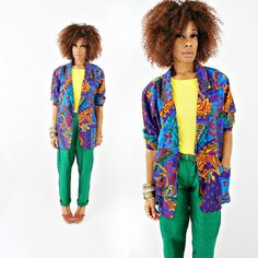 vintage 80s oversized SLOUCHY colorful abstract blazer size L by PasseNouveauVintage, $26.00