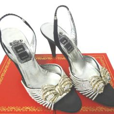 Vintage Rene Caovilla Cinderella slingback high heels sandals with shocks Rene Caovilla, Cinderella Shoes, Swarovski Jewelry, Black Satin, Stone Jewelry, High Heels, Vintage, Fashion, Black Man