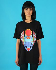 Doll Boutique Collection -Egyptian Scarab T-Shirt in Black with Multi Print