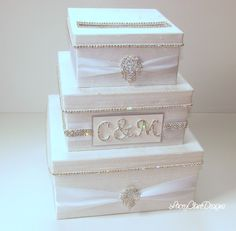 Wedding Card Box, Bling Card Box, Rhinestone Money Holder, Unique Wedding Gift…