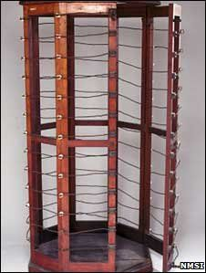 Electrotherapeutic cage, c 1890-1910. Electricity was particularly modish.The patient would stand inside the cage, which was wrapped in current-carrying wire. The wire produced an electrical field, which would create strong currents within the patient's body without causing discomfort. Or so they say. Dr's believed this increased the metabolism and was particularly helpful in cases of hysteria.