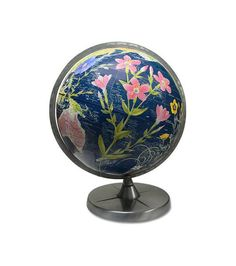 Vintage globe with decoupage art