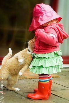 Pet cat and a toddler