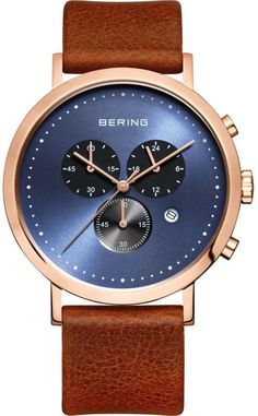 Bering Time - Classic - Mens Rose Gold Plated & Brown Leather Chronograph Watch