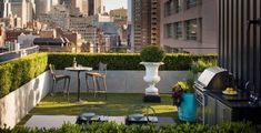 Roof terrace garden furniture barbecue area panorama view