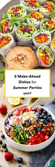 9 Make-Ahead Dishes for Summer Parties - Vegetarian/Vegan Summer & Winter Recipe. 9 Make-Ahead Dishes for Summer Parties - Vegetarian/Vegan Summer & Winter Recipes - 32 Amazing Garden Party Ideas You Need To Try Right Now Easy Party Food, Snacks Für Party, Appetizers For Party, Pool Party Recipes, Summer Menu Ideas, Dinner Party Recipes Make Ahead, Lunch Party Ideas, Easy Summer Appetizers, Vegan Dinner Party