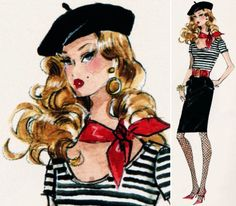 RECOMMEND: Beret, scoop neck, separated color, graphic and tapered skirt just above the knee - all good things for me!