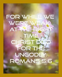 Romans 5:6   Christ died for the ungodly.