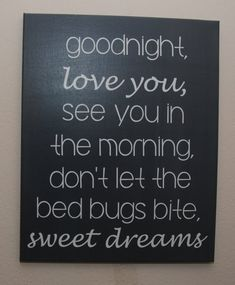Good night, love you, see you in the morning, don't let the bed bugs bite, sweet dreams - custom canvas wall art quotes
