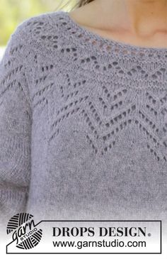 Agnes Sweater / DROPS - Free knitting patterns by DROPS Design Free knitting instructionsFree knitting instructionsPrima Donna / DROPS - Knitted scarf with ridges and lace, knitted from the top up. Summer Knitting, Lace Knitting, Knitting Stitches, Knit Crochet, Knitting Patterns Boys, Lace Patterns, Knitting Designs, Drops Design, Raglan Pullover
