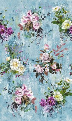 Aubriet Slate Blue mural by Designers Guild