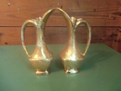 Weeping Gold-2 Gold Pitchers Old Ceramic by SETXTreasures on Etsy