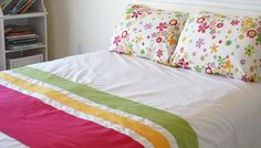 Adding some colourful stripes to a white duvet cover tutorial