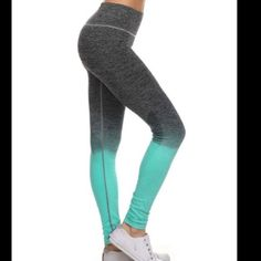 "Mint and Grey Leggings. These fabulous leggings are so cute and sporty. Perfect for the gym, or running around town. Breathable 4way stretch for ease of movement. Comfort waist. 88% nylon, 12% spandex. Natural moisture wicking. Super well made, and will be your favorite leggings. Available in S/M and L/XL. Waist 24"", hips 35"". Comes to you in its original sealed packaging with tags attached. Mint Leggings Pants Leggings"