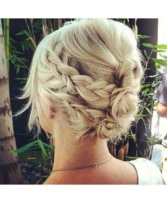 Two braids on each side, wrapped around mini buns, adorable hippie hair hair-styles-braids-updos-etc Date Hairstyles, Pretty Hairstyles, Wedding Hairstyles, Braid Hairstyles, Hairstyle Ideas, Summer Hairstyles, Halo Hairstyle, Style Hairstyle, Fashion Hairstyles