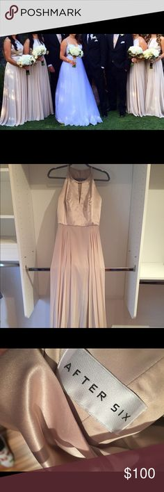 Lux chiffon bridesmaid prom dress Worn once, professionally cleaned after so this dress is as good as new. Very flattering fit with great movement. Beautiful dress. After Six designer, palamino color, lux chiffon material. after six Dresses Wedding