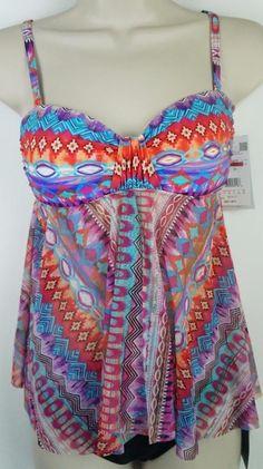 Nwt 2Pc Set Profile Bikini Tankini Swimsuit Size 6 Retail $162 #3477