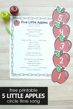5 Little Apples Preschool Circle Time Song - Fantastic Fun & Learning
